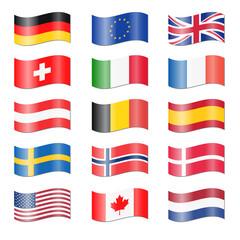 Set Länder Flaggen geschwungen