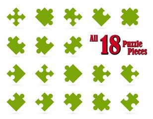 Alle 18 Puzzle Teile - grün