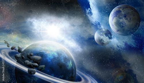 Fototapeta planets and meteorites in space