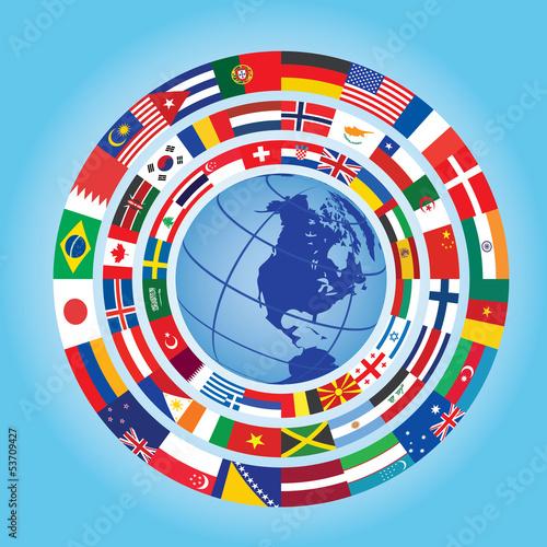 circles of flags around globe
