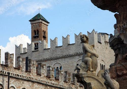 details of the monuments in the city centre of Trento in Italy