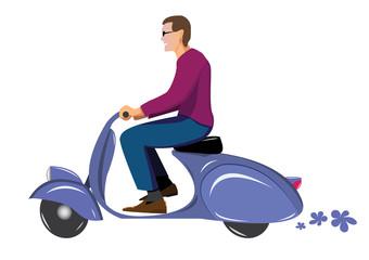 man on vintage scooter vespa blue