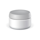 White elegant Cosmetic cream jars. Vector