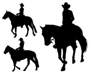 cowgirl riding horse silhouettes - vector