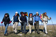 Group of hikers is walking on top of mountain in Crimea mountain