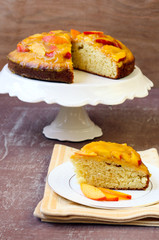 Sponge cake with peach mousse on top