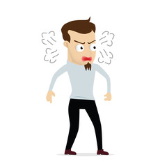 Young businessman cartoon angry