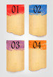 Collection of retro cardboard paper banners with color ribbon ta