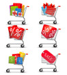 Group of shopping carts full of shopping bags and gift boxes. Co