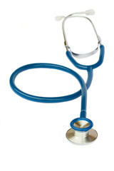Blue stethoscope on white
