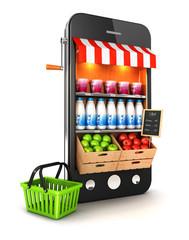 3d supermarket smartphone