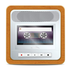 Cassette recorder square icon