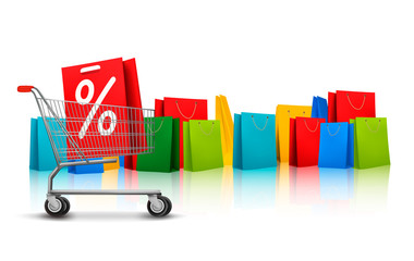 Background with shopping color bags and shopping carts with sale