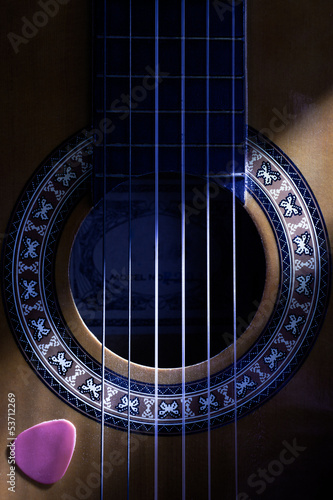 Classical Guitar Hole Close Up with Plectrum