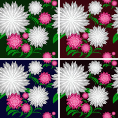 Flower seamless pattern in four colors