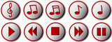 Music buttons with silhouettes of notes and clef illustration