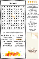 Autumn wordsearch puzzle