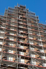Building renovation - outside facade scaffolding