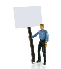 man with information board