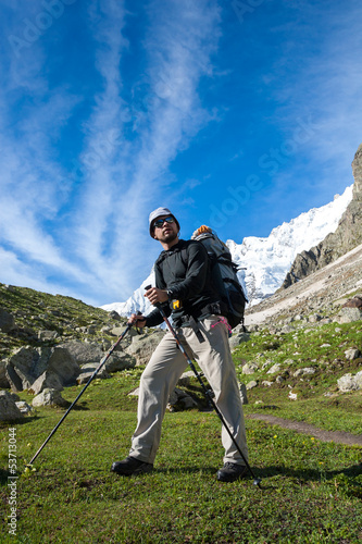 Hikier is climbing mountain in Caucasus mountains in Bezengi reg