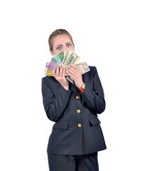 девушка  держит деньги перед своим лицом