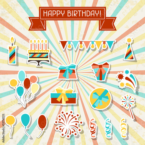 Happy Birthday party sticker icons set.