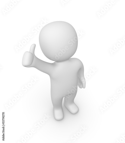 3d man showing thumbs up sign