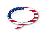 USA FLAG Speech Bubble Icon (united states of america button)