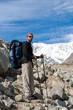 Hikier is climbing mountain in Caucasus mountains in Bezengi reg