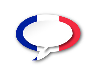 FRENCH LANGUAGE Icon (france flag speech bubble français button)