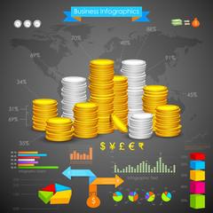 Coin Bar graph Business Infograph
