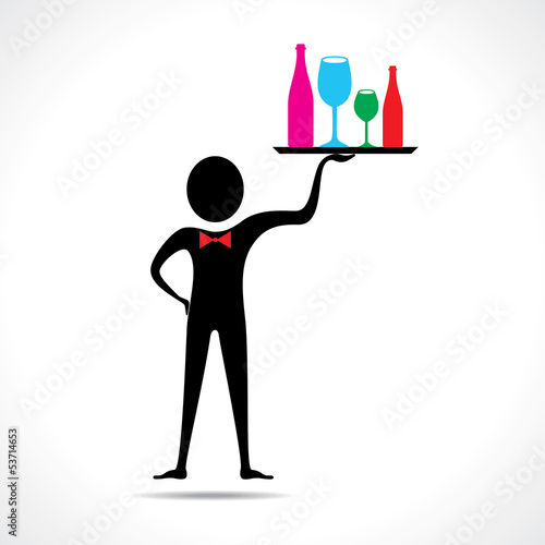 man holding colorful wine glasses and bottles on the tray