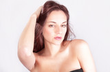 Hair care & styling woman holding hair, pensive look