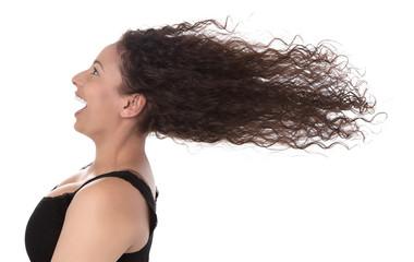 Wow - Frau lachend Haare isoliert im Wind - Lebensfreude