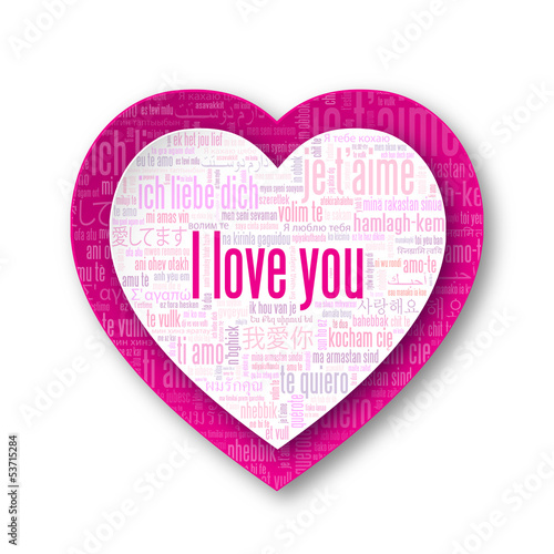 """""""I LOVE YOU"""" Tag Cloud (heart card romance valentine's day pink)"""