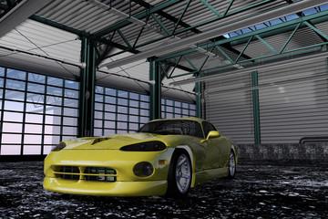 Sportwagen in einer Werkshalle