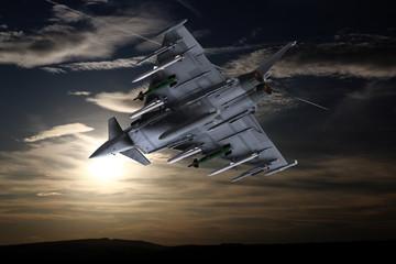 Moderner europäischer Militärjet im Flug