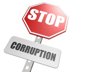 Stop corruption road sign