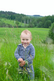 adorable smiling toddler in high summer grass