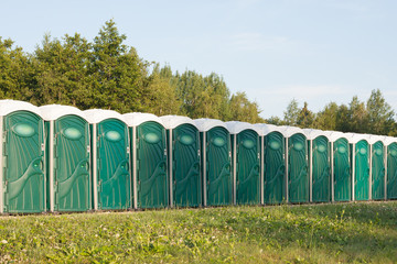 Many portable toilets