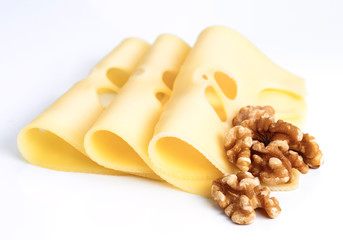 Leerdammer cheese slices with nuts on white base