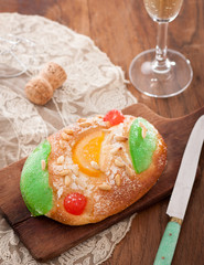 Candied fruit brioche on table