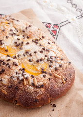 Traditional Catalan chocolate and candied orange brioche