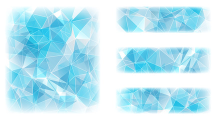 Abstract geometric polygonal background in ice blue  colors