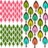 Cute little tree forrest seamless background pattern in vector