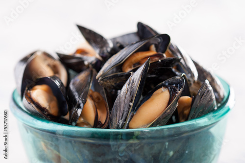 Steamed mussels on blue bowl