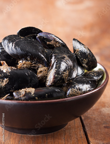 Natural fresh mussels on a bowl