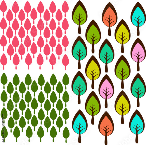 Cute little tree forrest seamless background pattern in vector - 53717670