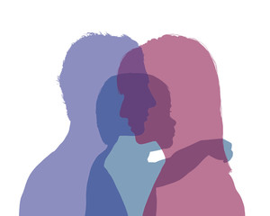 parents and their baby colorful silhouette