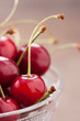 Fresh cherries on cute bowl